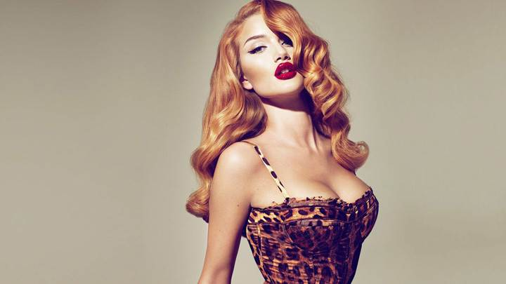 Rosie Huntington-Whiteley Red Lips In Golden Hairs Photoshoot